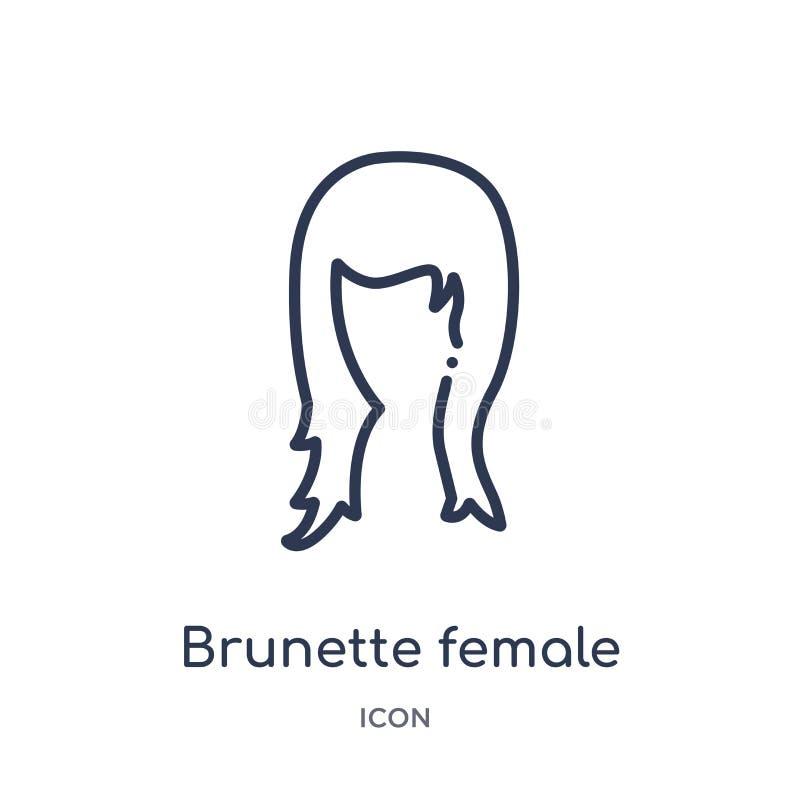 Longue icône de cheveux de femme féminine linéaire de brune de collection d'ensemble de pièces de corps humain Ligne mince cheveu illustration stock