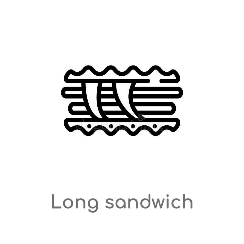 longue ic?ne de vecteur de sandwich ? ensemble ligne simple noire d'isolement illustration d'?l?ment de concept de Bistros et de  illustration de vecteur