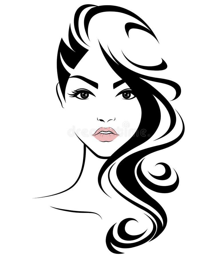 Longue icône de coiffure de femmes, visage de femmes de logo sur le fond blanc illustration libre de droits