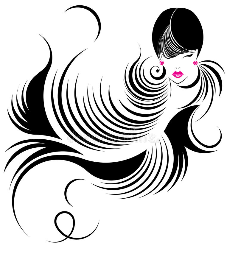 Longue icône de coiffure, visage de femmes de logo illustration libre de droits