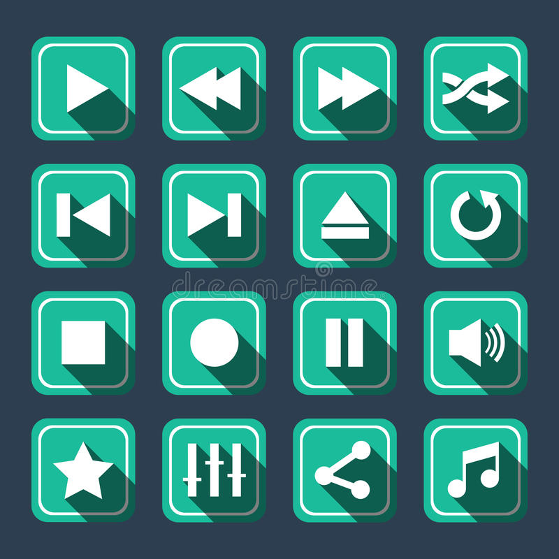 Longue ombre d'Emerald Multimedia Vector Icons With illustration de vecteur