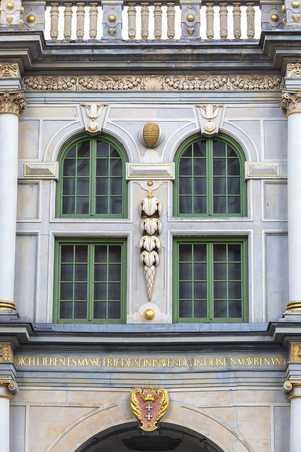 Longue porte de rue de Golden Gate du 17ème siècle, façade décorative, Danzig, Pologne images stock