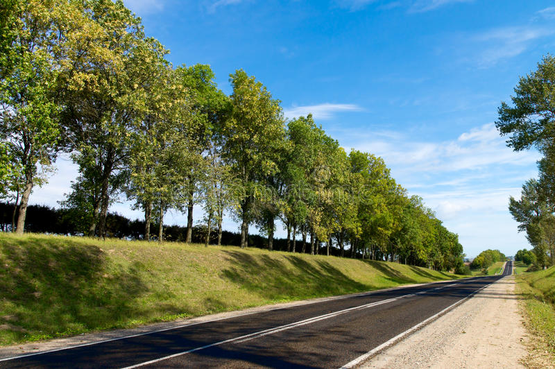Longue route aux côtes vertes. photo stock