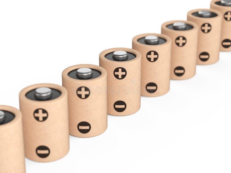 Longues batteries d'eco de rangée faites à partir des composants naturels et du papier réutilisé Concept vert d'énergie illustration stock
