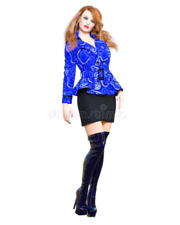 longues bottes de belle de la femme 3D de short d'anorak jupe rousse d'équipement vêtements de collection de Ressort-automne images stock