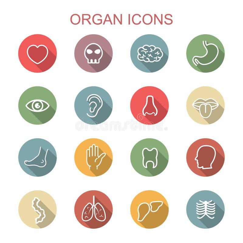 Longues icônes d'ombre d'organe illustration libre de droits
