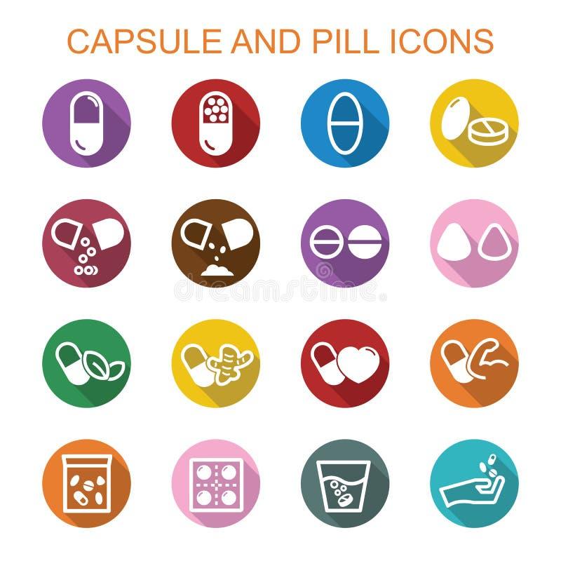Longues icônes d'ombre de capsule et de pilule illustration stock