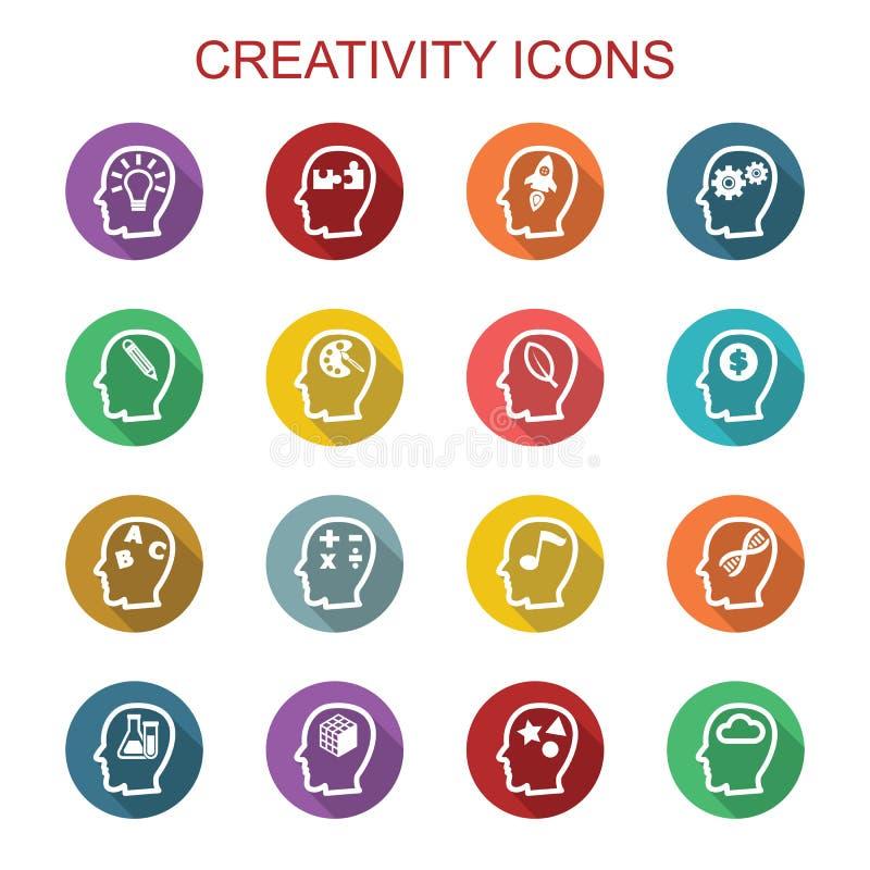 Longues icônes d'ombre de créativité illustration de vecteur