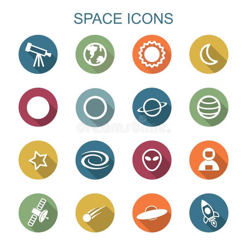 Longues icônes d'ombre de l'espace illustration libre de droits