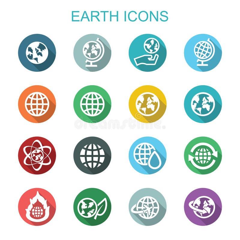 Longues icônes d'ombre de la terre illustration libre de droits