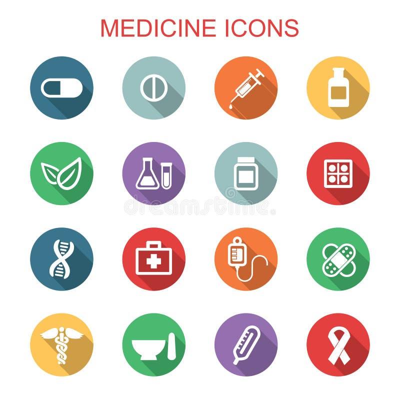 Longues icônes d'ombre de médecine illustration libre de droits