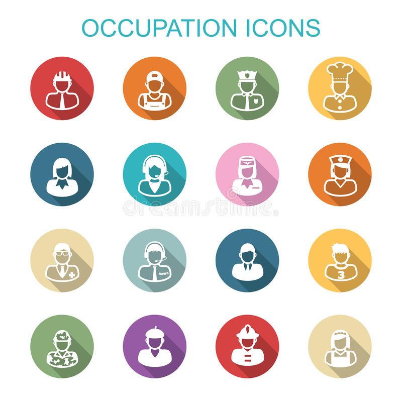 Longues icônes d'ombre de profession illustration stock