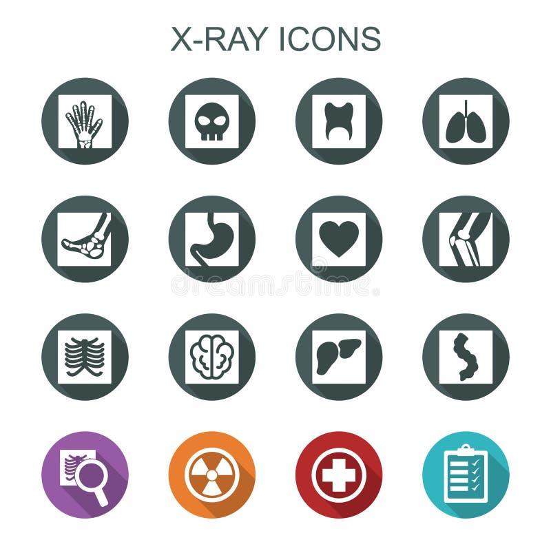 Longues icônes d'ombre de rayon X illustration de vecteur