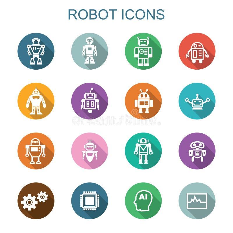 Longues icônes d'ombre de robot illustration de vecteur