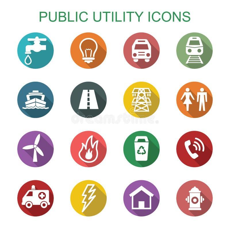 Longues icônes d'ombre de service collectif  illustration stock