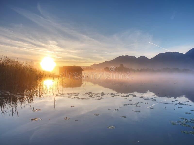 Longues ombres et feuilles de nénuphar sur le lac contre des hangars à bateaux photos libres de droits