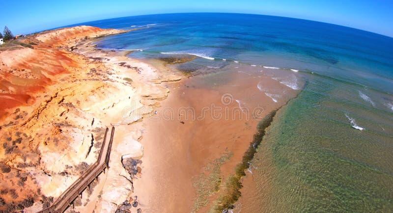 Longueur a?rienne de l'estuaire du sud de rivi?re de Southport Onkaparinga d'Australien image libre de droits
