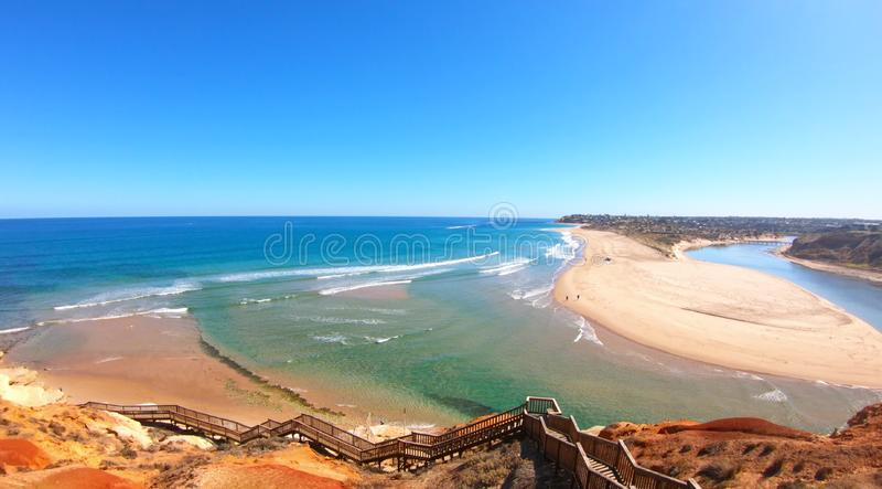 Longueur a?rienne de l'estuaire du sud de rivi?re de Southport Onkaparinga d'Australien photographie stock