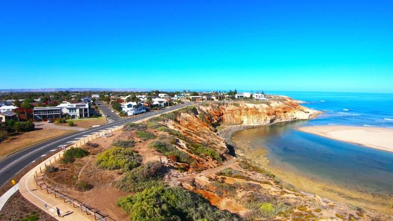 Longueur a?rienne de l'estuaire du sud de rivi?re de Southport Onkaparinga d'Australien photo stock