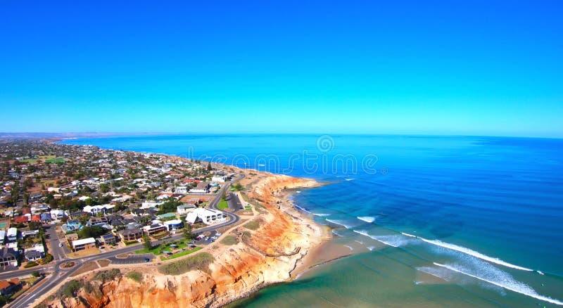 Longueur a?rienne de l'estuaire du sud de rivi?re de Southport Onkaparinga d'Australien images stock
