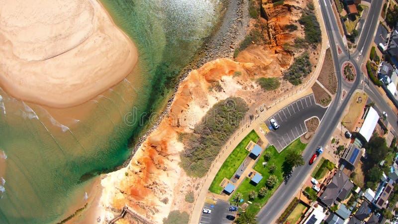 Longueur a?rienne de l'estuaire du sud de rivi?re de Southport Onkaparinga d'Australien photographie stock libre de droits