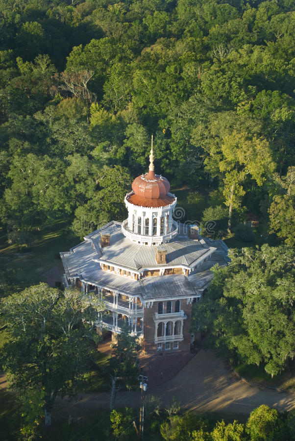 Longwood. Aerial photo of Longwood antebellum mansion in Natchez, Mississippi. Longwood is the largest octagonal house in America royalty free stock image