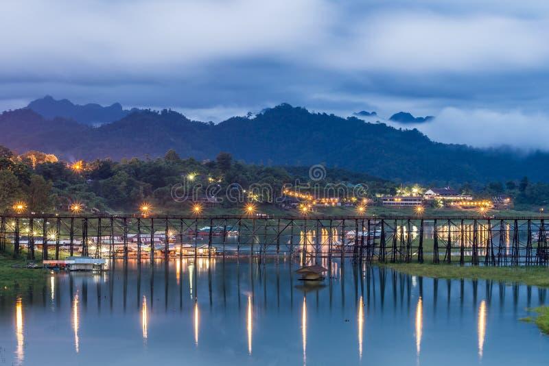 Longwood bridge sangklaburi at night stock photo
