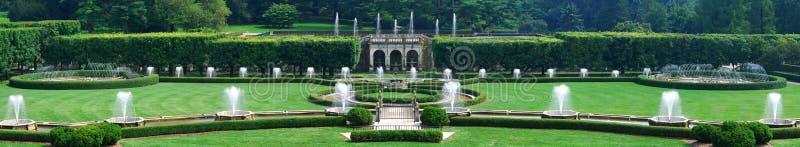 Longwood Garten-Brunnen-Panorama stockbild