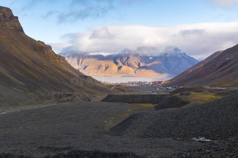 Longyear valley and Longyearbyen town stock photos