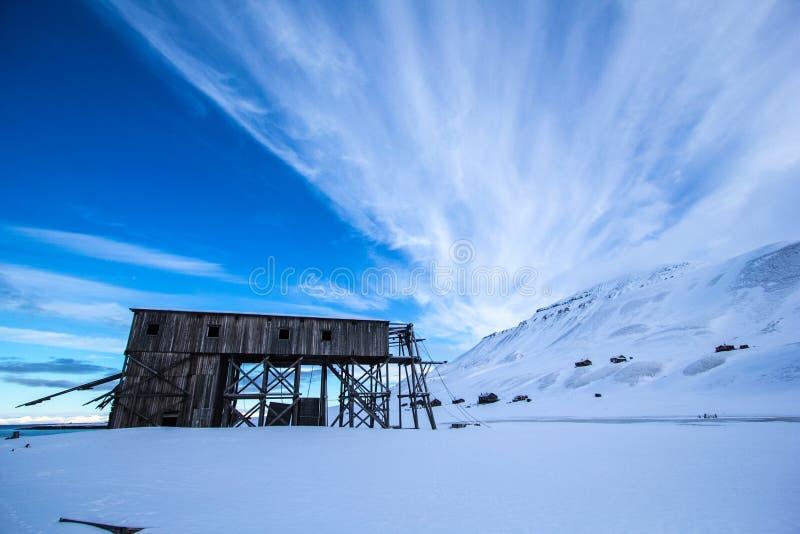 Longyearbyen, de oude noordpoolbouw royalty-vrije stock foto