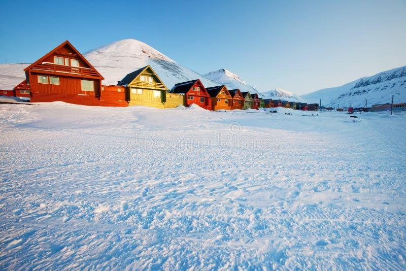 longyearbyen solnedgången royaltyfri fotografi