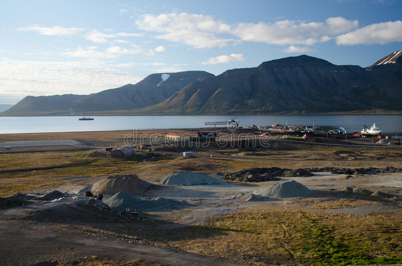 Longyearbyen Spitsbergen, Svalbard, Norway. Longyearbyen is the largest settlement and the administrative centre of Svalbard, Norway royalty free stock image