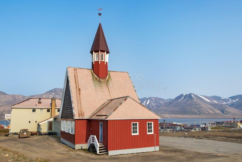 The Our Saviour´s Church in Longyearbyen, Svalbard. Longyearbyen, Svalbard, Norway - August 13th, 2018: The Our Saviour´s Church in Longyearbyen stock photos