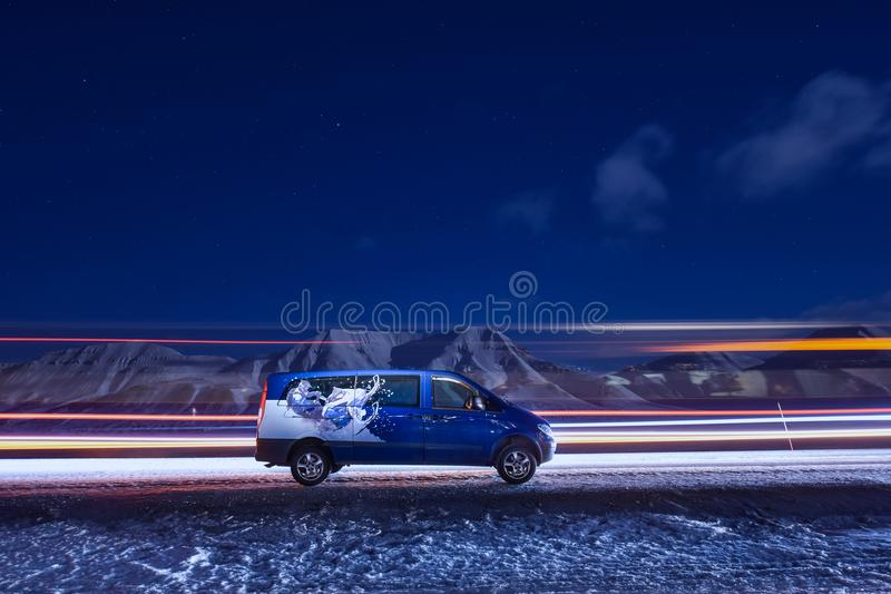 Longyearbyen, Svalbard / Norway - march 3 2018 arctic sky star in Norway in Longyearbyen city car mountains Mercedes van royalty free stock photography