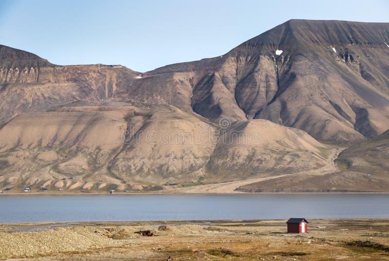 The Longyearelva River ar Longyearbyen, Svalbard. A mountain along the Longyearelva River at Longyearbyen in the Svalbard Archipelago stock photography