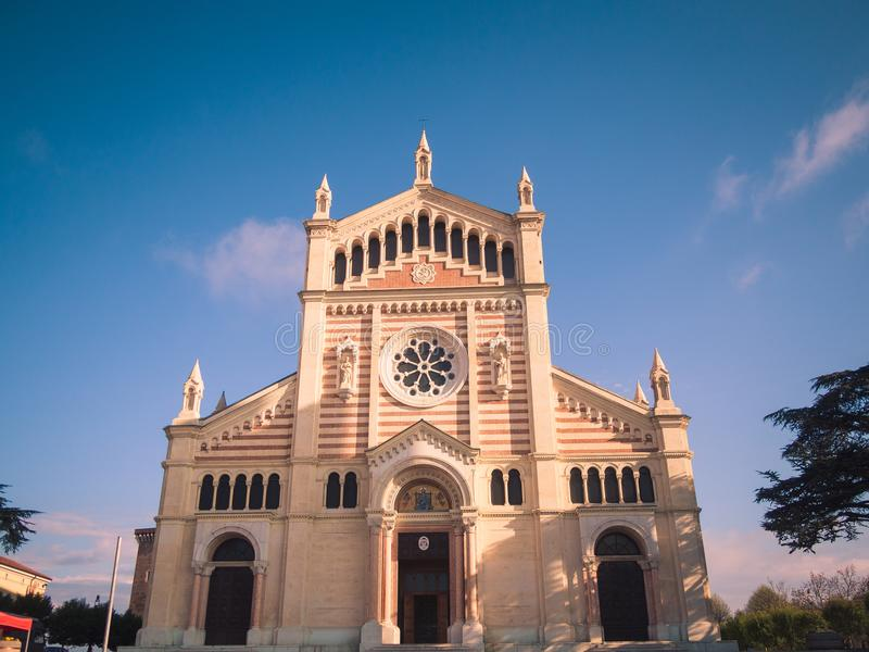 The Cathedral of Lonigo erected between 1877 and 1895 in neo-Romanesque style. stock images