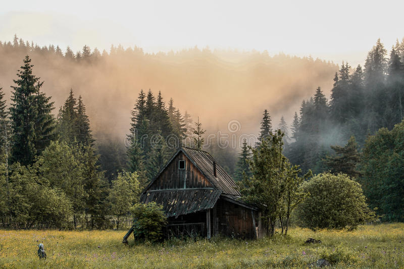 Lonley House. Old house with beautiful landscape stock photos