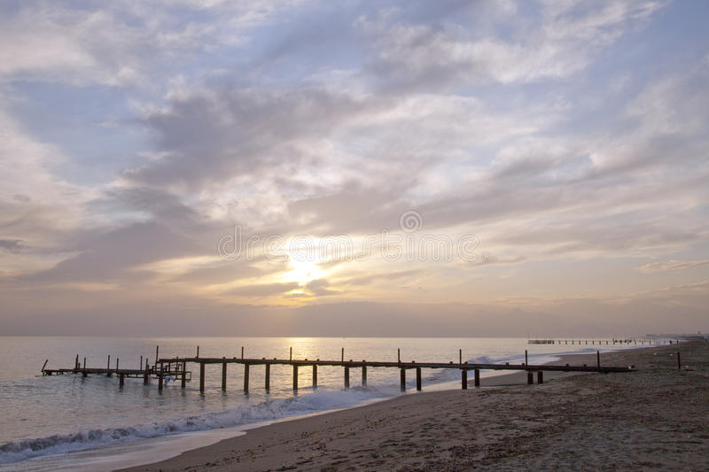 Lonley pier landscape stock photography