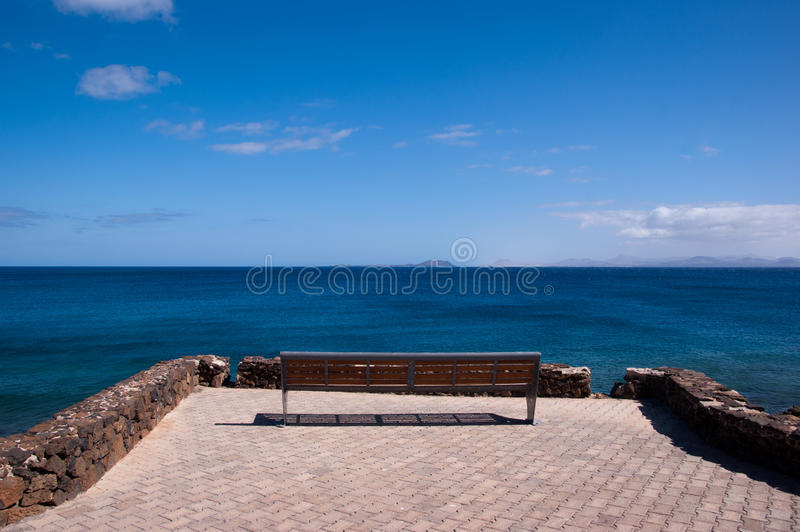 Download Lonely Empty Bench In Playa Blanca Stock Image - Image: 19979901