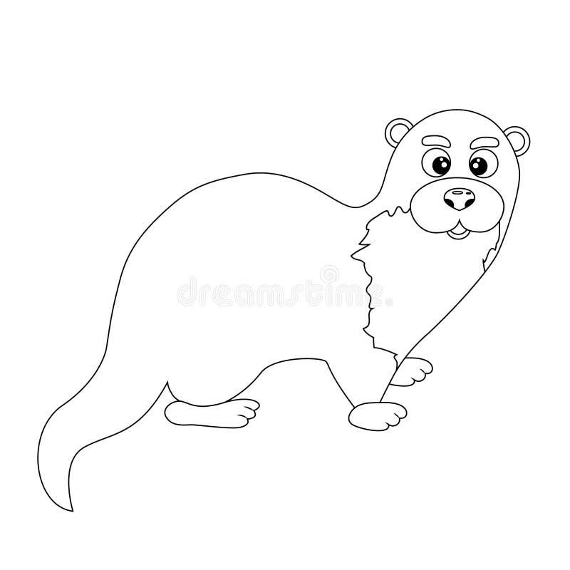 Lontra engraçada incolor dos desenhos animados ilustração stock