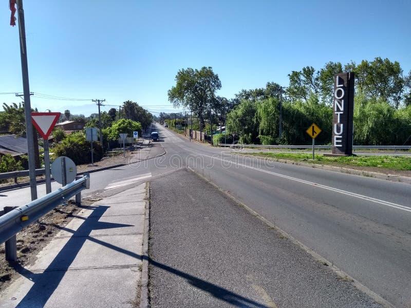 Lontue, Straße 7 de Abril stockbild