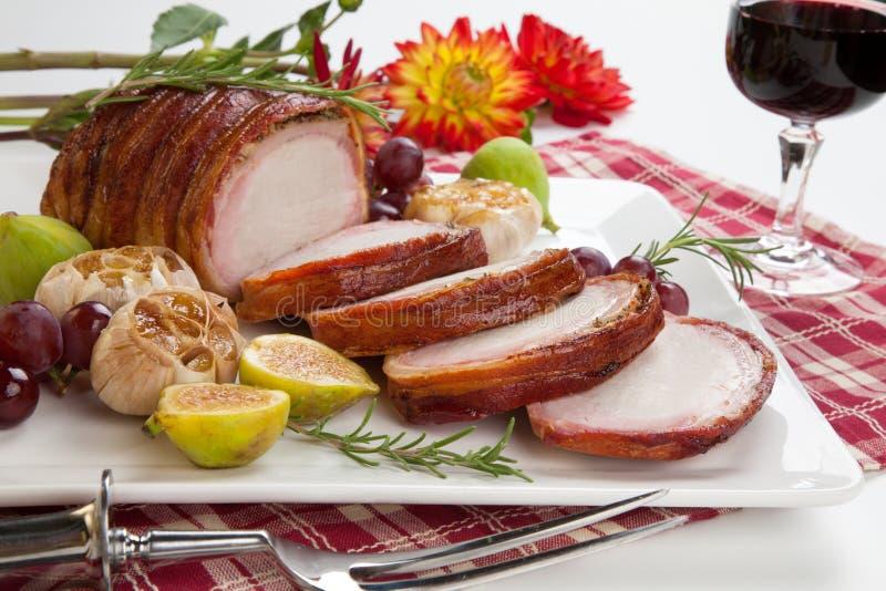 lonza di maiale Bacon-avvolta con i frutti immagine stock