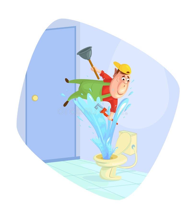 Loodgieter bevestigend toilet royalty-vrije illustratie