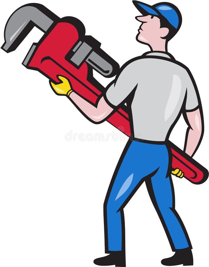 Loodgieter Carry Monkey Wrench Walking Cartoon stock illustratie