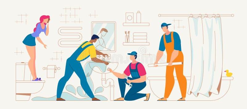 Loodgieter Cleaning Clogged Sink in Badkamersvector royalty-vrije illustratie