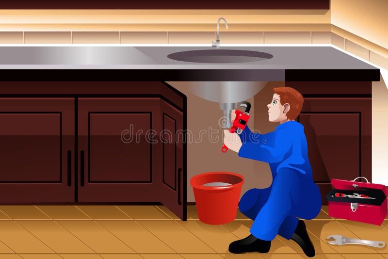 Loodgieter die een lekke tapkraan bevestigen stock illustratie