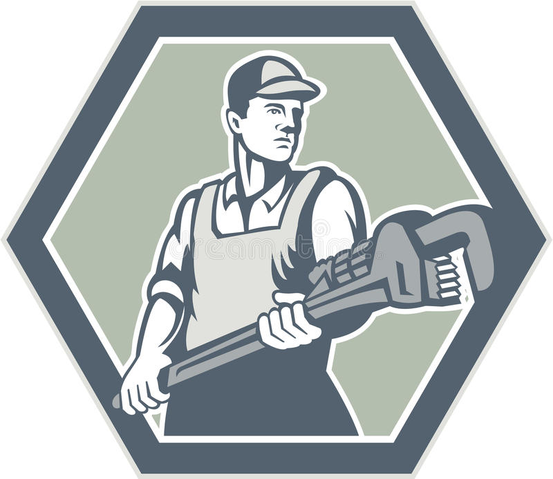Loodgieter Retro Holding Plumbing Wrench stock illustratie