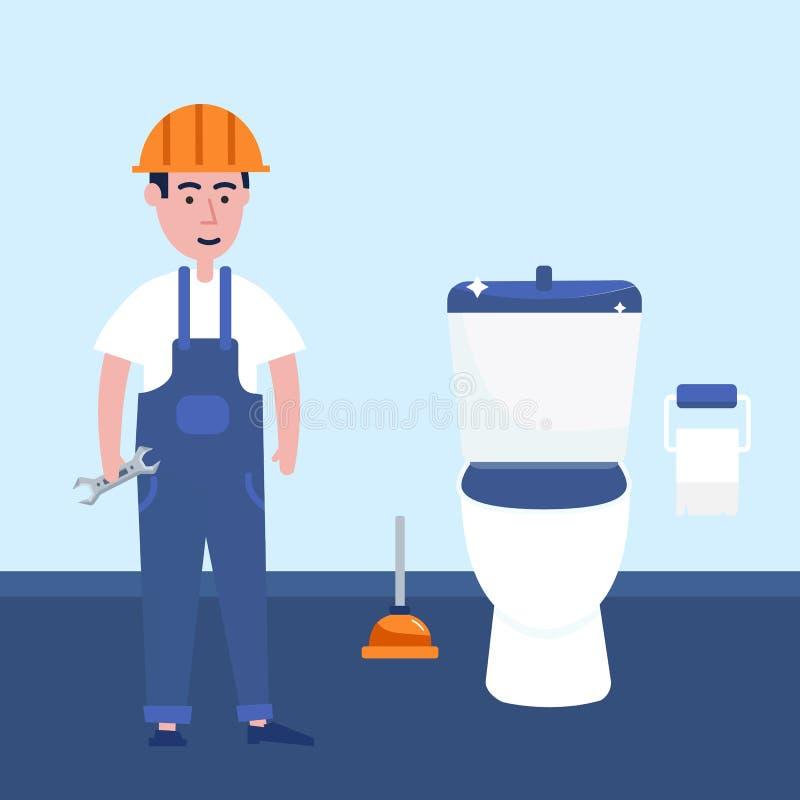 Loodgieterarbeider in de tapkraan van de toiletreparatie Vriendschappelijk arbeidersontwerp, professioneel manusje van alles royalty-vrije illustratie
