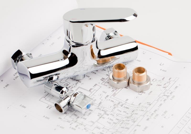 Loodgieterswerk en ontwerp royalty-vrije stock afbeeldingen
