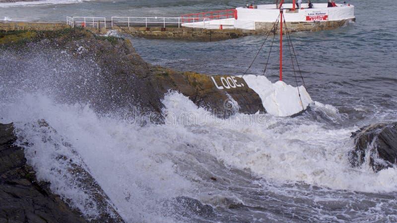 Storm Ophelia reaches Cornwall UK stock photos